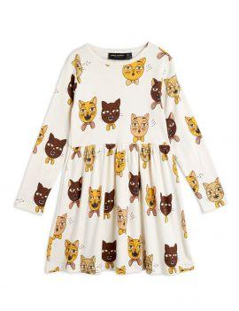 Mini Rodini Cat Choir LS Dress Offwhite