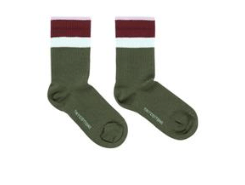 Tiny Cottons Stripes Medium Rib Socks green wood/aubergine
