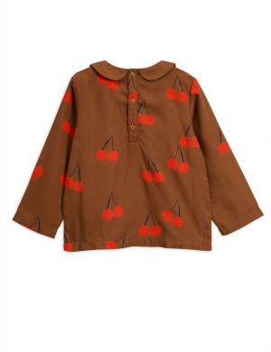 Mini Rodini Cherry woven pleat blouse brown