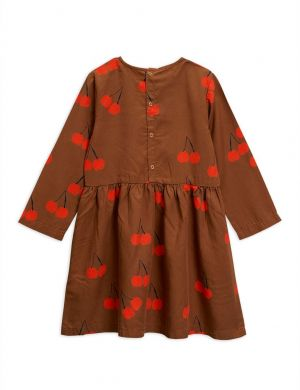Mini Rodini Cherry woven ls dress brown