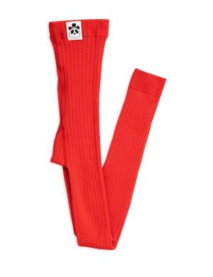 Mini Rodini Ribbed Legging Red