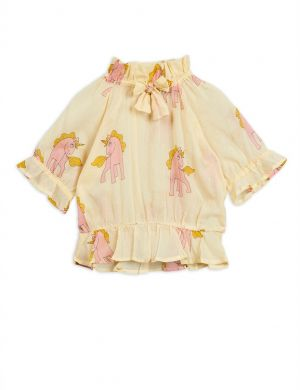 Mini Rodini Unicorns Woven Bow Blouse