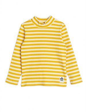 Mini Rodini Stripe Rib High Neck ls Yellow
