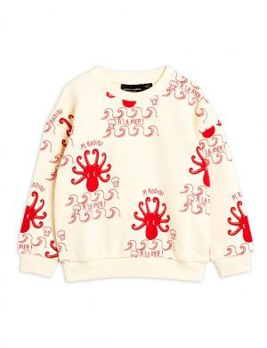 Mini Rodini Octopus Sweatshirt aop offwhite/red