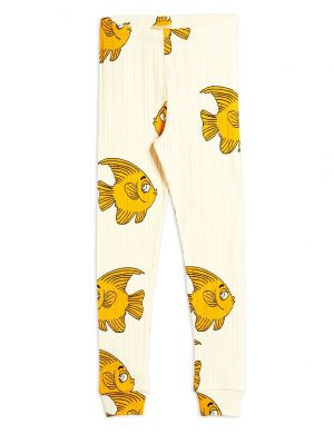 Mini Rodini Fish Leggings Offwhite