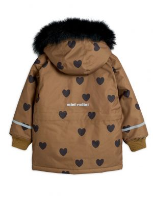 Mini Rodini K2 Hearts Parka Brown