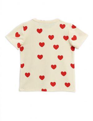 Mini Rodini Hearts SS Tee Tencel Offwhite