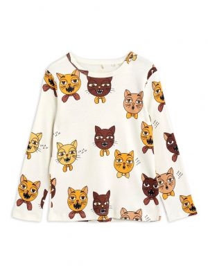 Mini Rodini Cat Choir LS Tee Offwhite