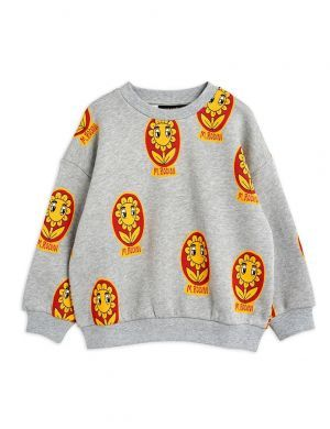 Mini Rodini Flower aop Sweatshirt Grey Melange