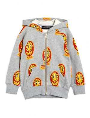 Mini Rodini Flower aop Zip Hoodie Grey Melange