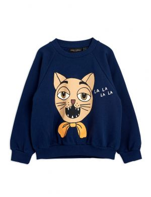 Mini Rodini Cat Choir Sweatshirt Navy