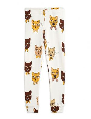 Mini Rodini Cat Choir aop Leggings Offwhite
