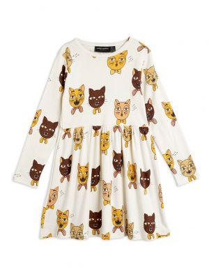 Mini Rodini Cat Choir LS Dress Offwhite