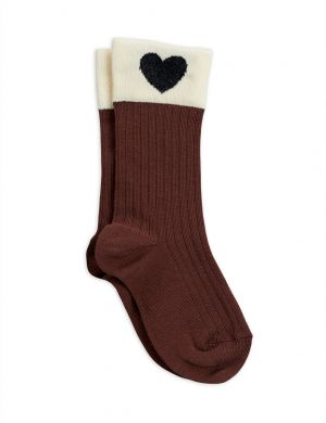 Mini Rodini Hearts Socks Brown