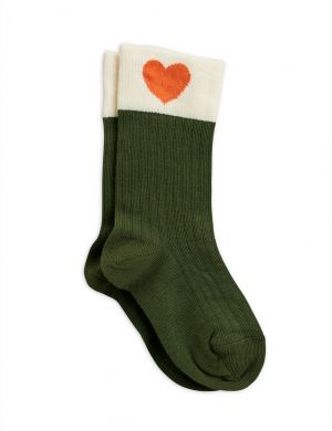 Mini Rodini Hearts Socks Green