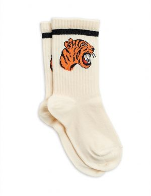 Mini Rodini Tiger Socks Offwhite