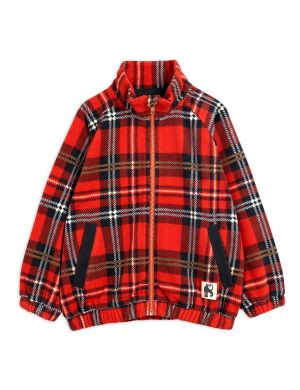 Mini Rodini Fleece Check Jacket Red