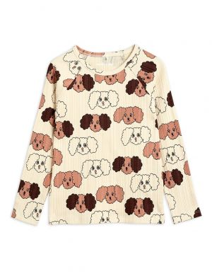 Mini Rodini Fluffy Dog aop LS Tee Beige