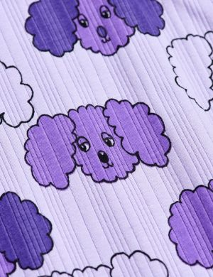Mini Rodini Fluffy Dog aop LS Tee Purple