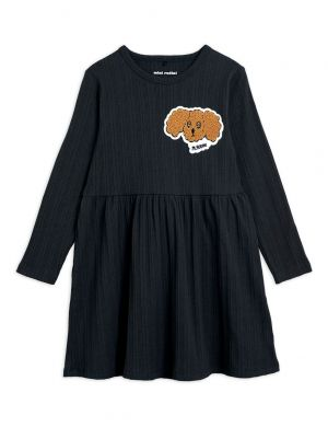 Mini Rodini Fluffy Dog Patch Dress Black