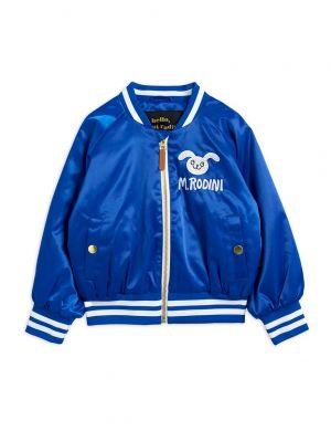 Mini Rodini Rabbit Satin Baseball Jacket Blue