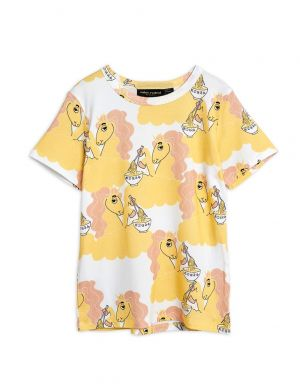 Mini Rodini Unicorn Noodles aop SS Tee Yellow
