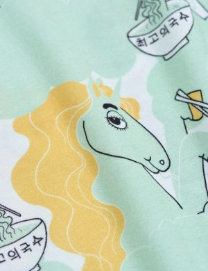 Mini Rodini Unicorn Noodles aop SS Tee Green