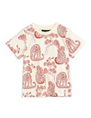 Mini Rodini Tigers aop SS Tee Offwhite/Red