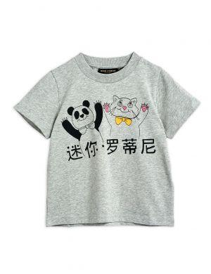 Mini Rodini Cat and Panda sp SS Tee Grey