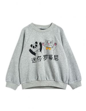 Mini Rodini Cat and Panda sp Sweatshirt Grey