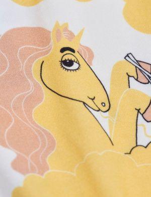 Mini Rodini Unicorn Noodles aop Leggings Yellow