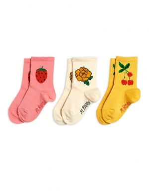 Mini Rodini Cherry & Co 3-pack socks