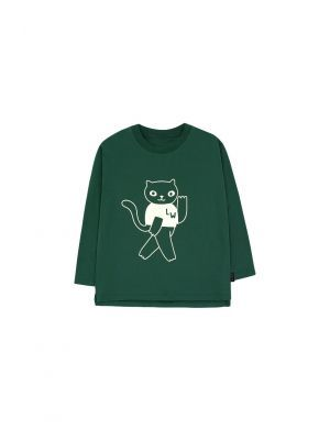 Tiny Cottons Cats LS Tee bottle green/light cream solo