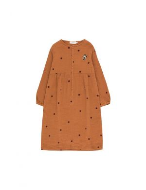 Tiny Cottons Dots Cat Dress brown/aubergine