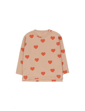 Tiny Cottons Hearts Tee Light Nude/Red