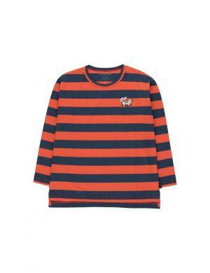 Tiny Cottons Tiny Fox Stripes Tee Light Navy/Red