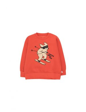 Tiny Cottons Skiing Dog Sweatshirt Red/Cappuccino
