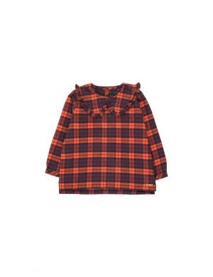 Tiny Cottons Check Blouse Navy/Red
