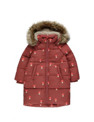 Tiny Cottons Mushrooms Padded Jacket Dark Brown/Red
