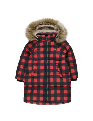Tiny Cottons Check Padded Jacket Navy/Red