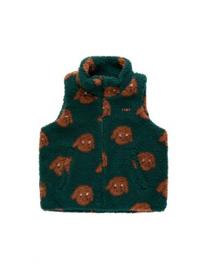 Tiny Cottons Tiny Dog Sherpa Vest Dark Green/Sienna