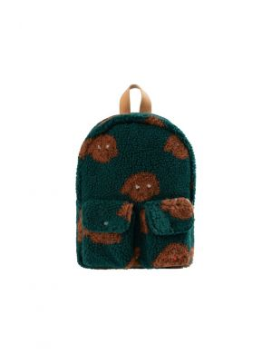 Tiny Cottons Tiny Dog Sherpa Backpack dark green/sienna