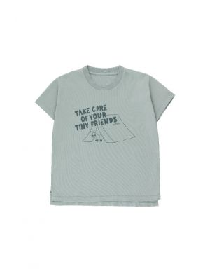 Tiny Cottons Take Care SS Tee Foggy Blue/Ink Blue