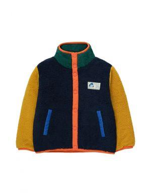 Tiny Cottons Color Block Polar Jacket Deep Blue/Honey