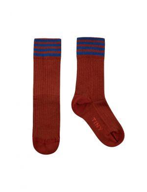 Tiny Cottons Stripes Medium Socks Dark Copper/Ultramarine
