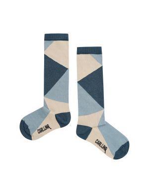 CarlijnQ Knee Socks Color Block Blue