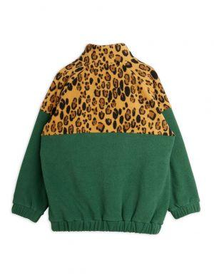 Mini Rodini Fleece Zip Pullover Green Leopard