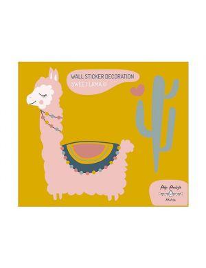 Sweet lama muursticker roze