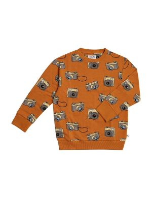 CarlijnQ Sweater Photo Camera aop Brown