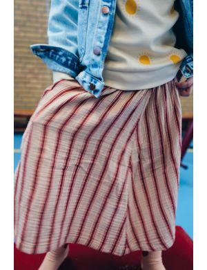 Tiny Cottons Retro Stripes Midi Skirt light nude/dark brown